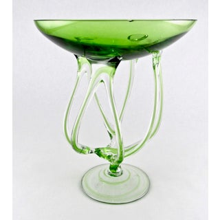 Hand Blown Jozefina Lime Green Spider Glass Candle Holder Preview