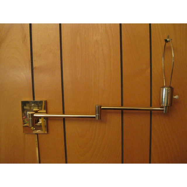 1980s Hansen Lamp Metalarte Double Swing Arm Brass Sconces - a Pair For Sale - Image 5 of 13