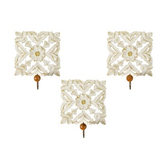 Hand Carved White Gold Lattice Floral Wall Mounted Hook Coat Hanging - Set of 3 For Sale