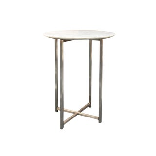 Marble-Top & Chrome Accent Table For Sale