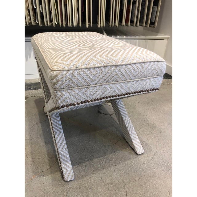 Early 21st Century Transitional Scalamandre Upholstered X Bench For Sale - Image 5 of 13