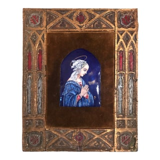 Vintage Limoges Painting of the Virgin Mary, Enamel on Copper For Sale