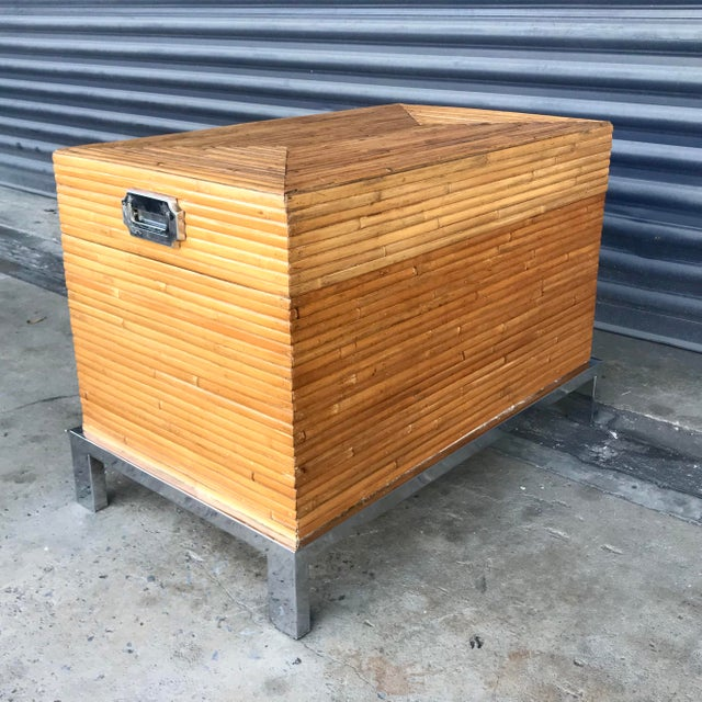 Boho Chic Vintage Split Reed Bamboo and Chrome Trunk For Sale - Image 3 of 13
