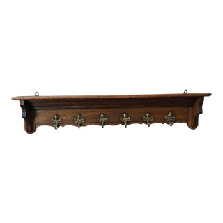 Antique French Country Carved Oak Wall Shelf Coat Hat Plate Rack Brass Angel For Sale