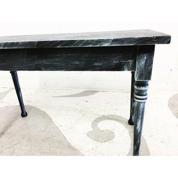 Vintage Turquoise and Black Distressed Bench - Image 5 of 6