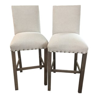 Light Gray Fabric Barstools- A Pair For Sale