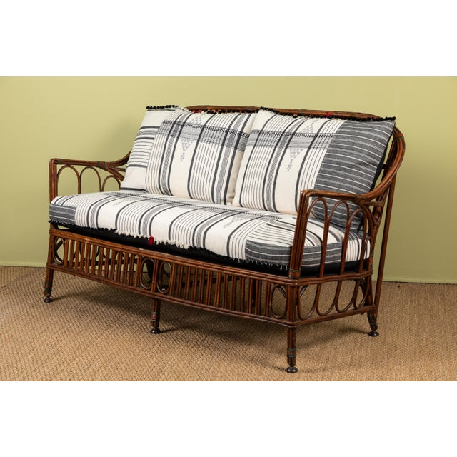 1920s 1920s Bent Wood Loveseat Settee With Injiri Upholstery For Sale - Image 5 of 10