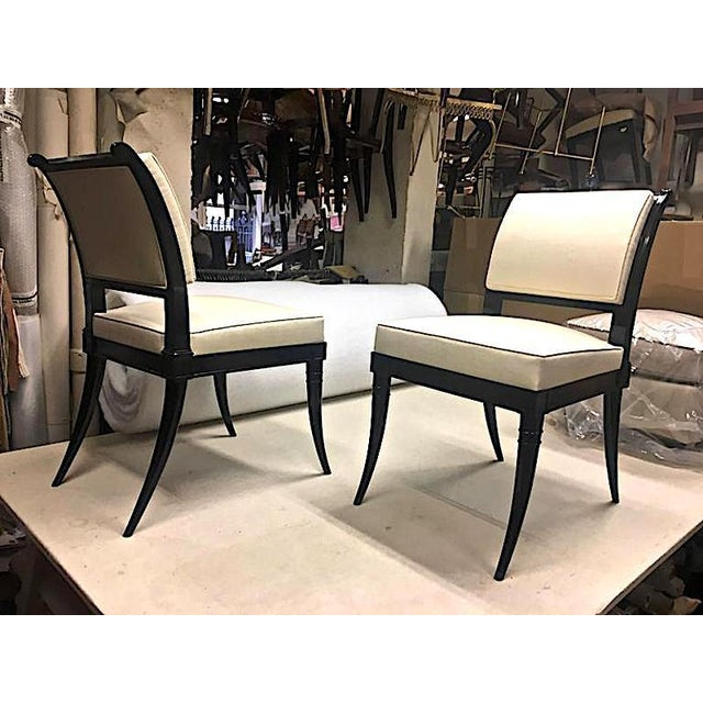 Maison Jansen Chicest Black Neoclassic Exceptional Set of Eight Dinning Chairs.