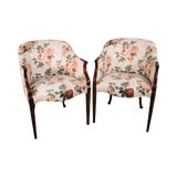 Image of Federal Style Custom Mahogany Barrel Back Pair Tub Chairs For Sale