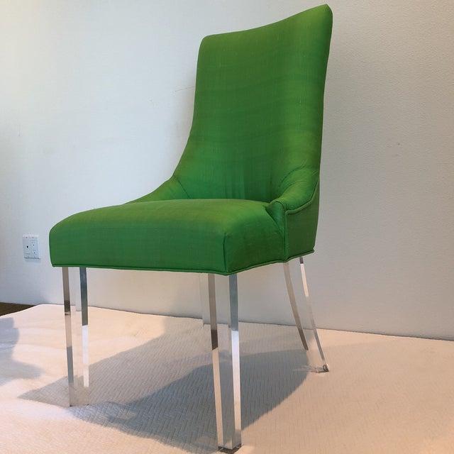 Green Silk Acrylic Chair - Image 9 of 9