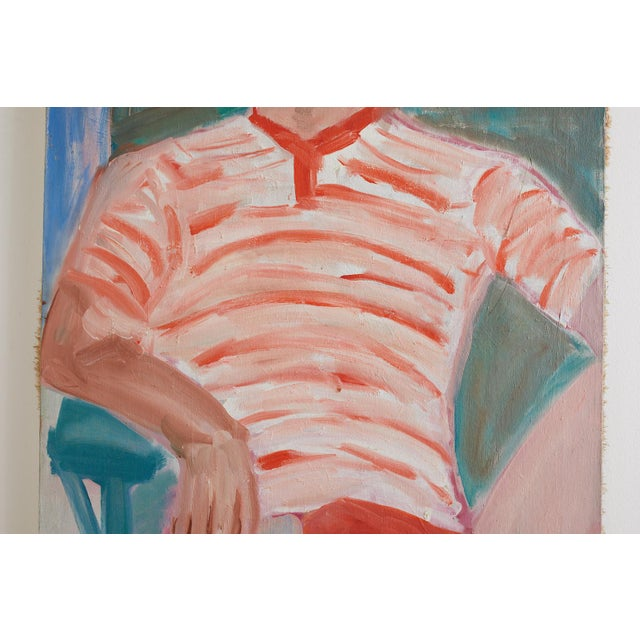 Midcentury Oil on Canvas Beach House Figural Painting For Sale In San Francisco - Image 6 of 13