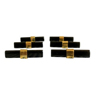 Set of 6- Black and Brass Modern Drawer Pulls For Sale