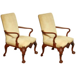 Pair of George II Walnut Library Chairs For Sale