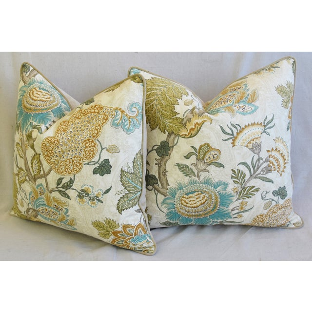 """French Jacobean Floral Feather/Down Pillows 24"""" Square - Pair For Sale - Image 10 of 13"""
