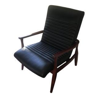 Mid-Century Walnut & Black Leather Chair