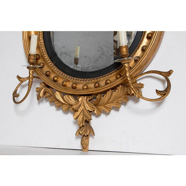 18th Century George III Gilt-Wood Convex Girandole Mirror For Sale - Image 11 of 13