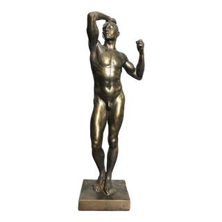 1930s Vintage the Age of Bronze After Auguste Rodin Statue For Sale