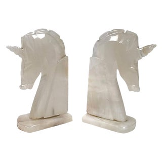 Marble Unicorn Bookends, Pair For Sale