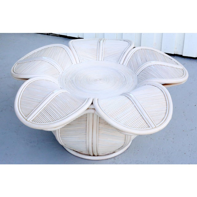 1970s Mid Century Modern Gabriella Crespi / Franco Albini Style Rattan Bell Flower Coffee Table For Sale - Image 11 of 11