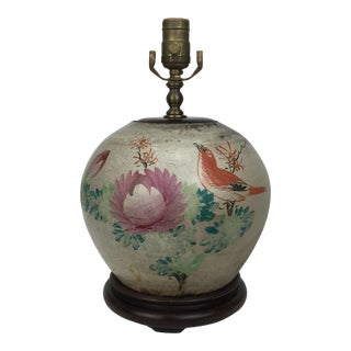 20th Century Asian Antique Birds & Flowers Crackle Scenery Pottery Lamp For Sale