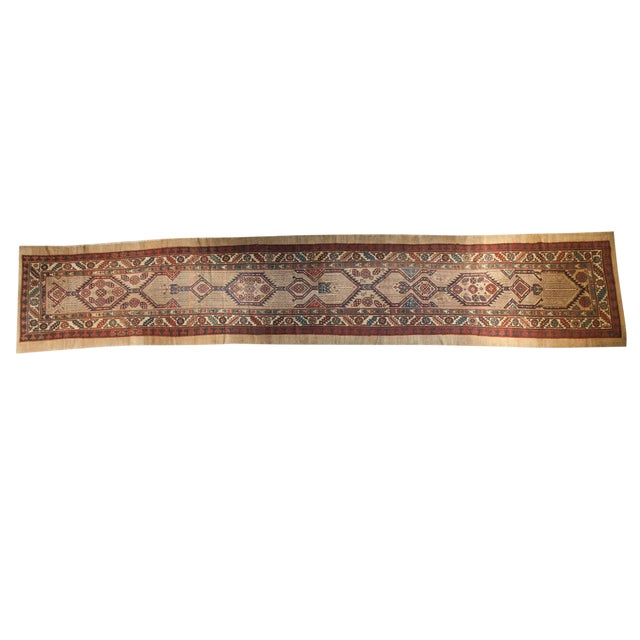 "Antique Serab Rug Runner - 3'6"" x 18'6"" - Image 1 of 10"