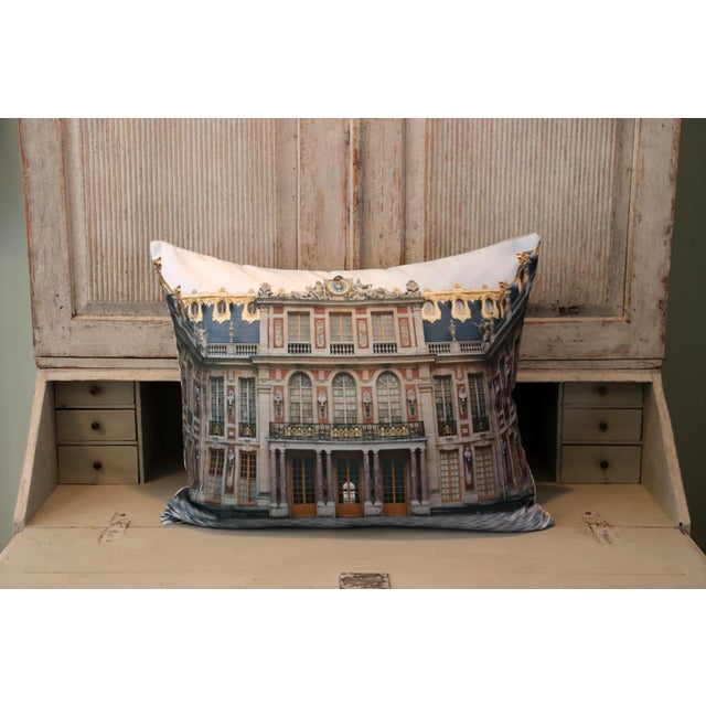 Gray Versailles Rear Courtyard Photo Pillow For Sale - Image 8 of 12