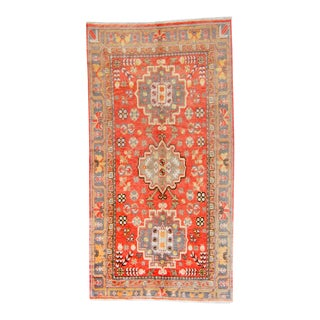 "1920s Antique Khotan Art Deco Orange Wool Hand-Knotted Rug - 4'11"" X 9'4"" For Sale"