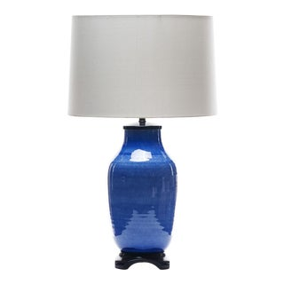 Lawrence & Scott Dun Lang Hand Spun Porcelain Table Lamp in Sky Blue For Sale