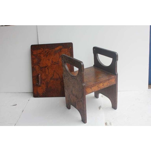 Folk Art Hand Made Wooden Chair/Table - Image 3 of 6