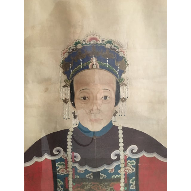 Early 20th Century Antique Chinese Ancestral Watercolor Portrait on Paper Painting For Sale - Image 4 of 11