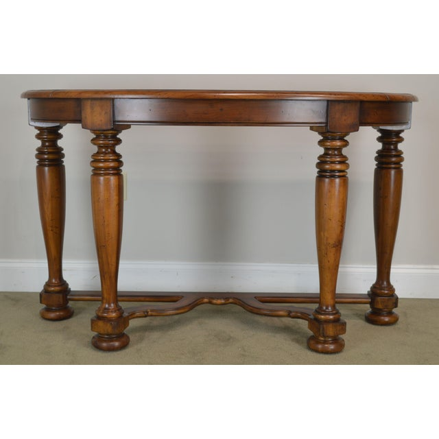 Enjoyable Jacobean Style Rustic Demilune 54 Console Table A Ibusinesslaw Wood Chair Design Ideas Ibusinesslaworg