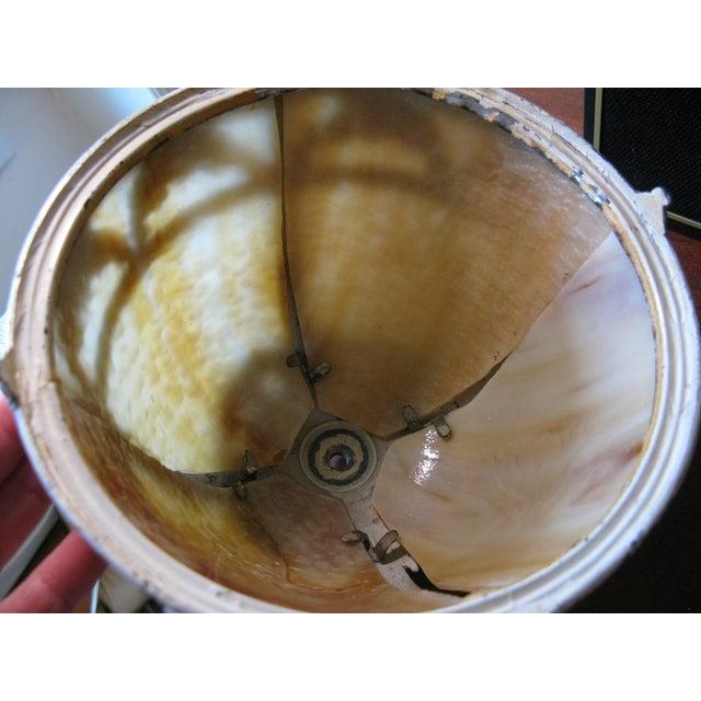 Cream Iron and Brass Slag Glass Lamp - Image 5 of 8