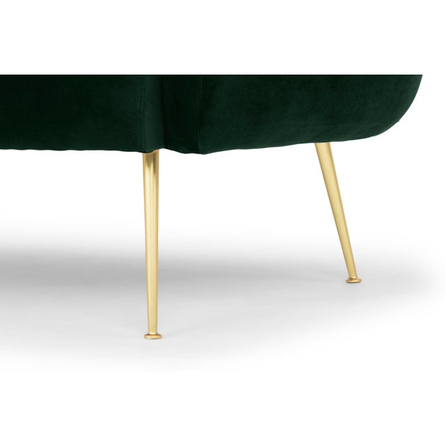 Dark Green, Brushed Brass Channeled Settee For Sale - Image 4 of 6