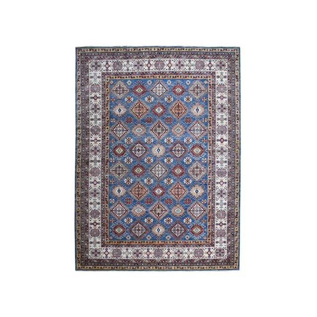 Hand Knotted Blue Kazak Wool Rug For Sale - Image 13 of 13