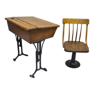 Chandler the Boston Adjustable Oak Wood & Cast Iron School Desk & Chair Set For Sale