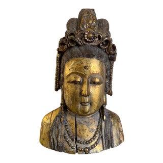 Large Asian Wooden Gilt Kwan Yin Buddha Statue For Sale