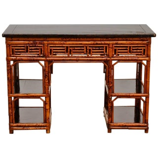 English Chinese Chippendale Chinoiserie Style Bamboo Desk For Sale