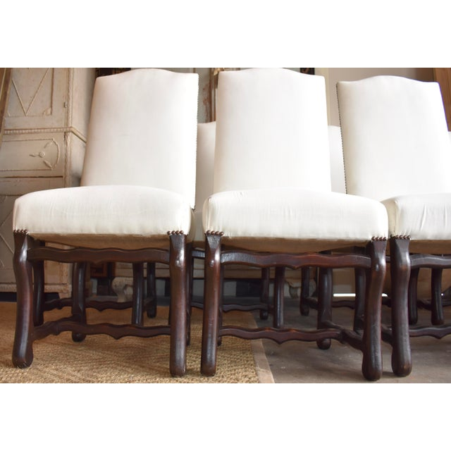 1940s French Provincial Upholstered Os De Mouton Dining Chairs - Set of 10 For Sale - Image 10 of 13