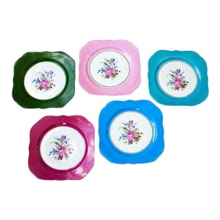 French Floral & Gold Rim Plates - Set of 5