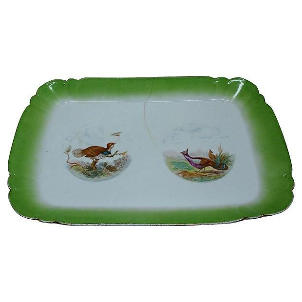 English Traditional Antique Austrian Game Bird Serving Platter For Sale - Image 3 of 7