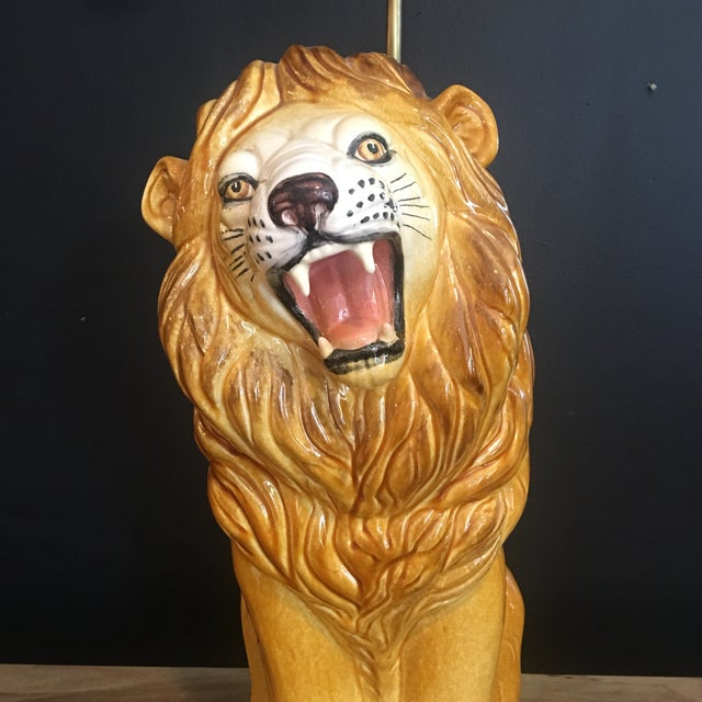 Large Italian Hand-Painted Porcelain Lion Sculpture Mounted Lamp For Sale - Image 10 of 12