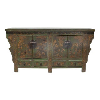 Chinese Distressed Lime Green Golden Graphic Tv Console Table Cabinet For Sale