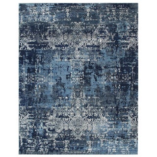 Hand Knotted Wool & Viscose Modern Rug- 8′1″ × 9′10″ For Sale