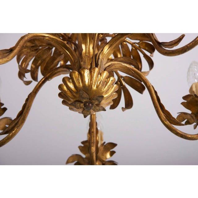 Hollywood Regency Gilt Metal Palm Tree Leaf Chandelier Attributed to Hans Kögl For Sale - Image 3 of 6