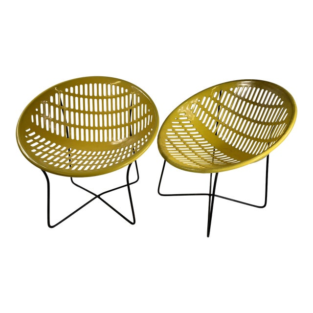 Image of Mid Century Howard Johnson Hotel Yellow Solar Lounge Chairs- a Pair