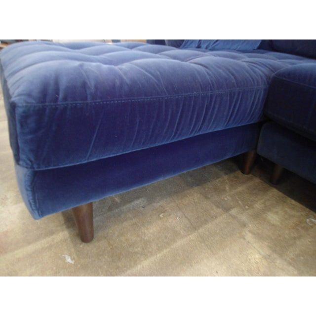 Navy Blue Velvet Sectional W/ Tufted Seat, Left Chaise For Sale - Image 5 of 6