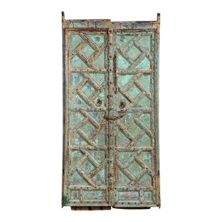 Antique Indian Carved and Painted Doors For Sale