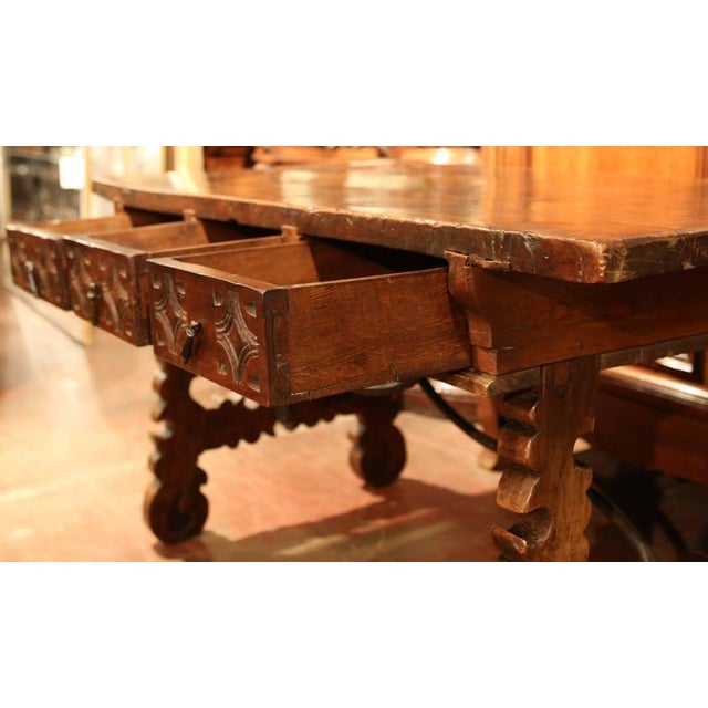 Brown 18th Century Spanish Carved Walnut Table Desk For Sale - Image 8 of 10