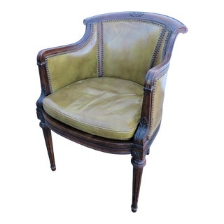 Early 20th Century Louis XVI Walnut Olive Green Leather Chair For Sale