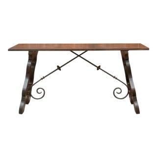 Burnt Teak Spanish Tavernera Writing Table For Sale